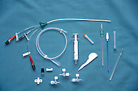 Insertion of intravenous lines via jugular vein. Complete surgical instrument kit...©shoutpictures.com.john@shoutpictures.com