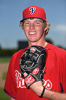 GCL Phillies pitcher Sam McWilliams (48) poses for a photo after a game against the GCL Pirates on June 26, 2014 at the Carpenter Complex in Clearwater, Florida.  GCL Phillies defeated the GCL Pirates 6-2.  (Mike Janes/Four Seam Images)