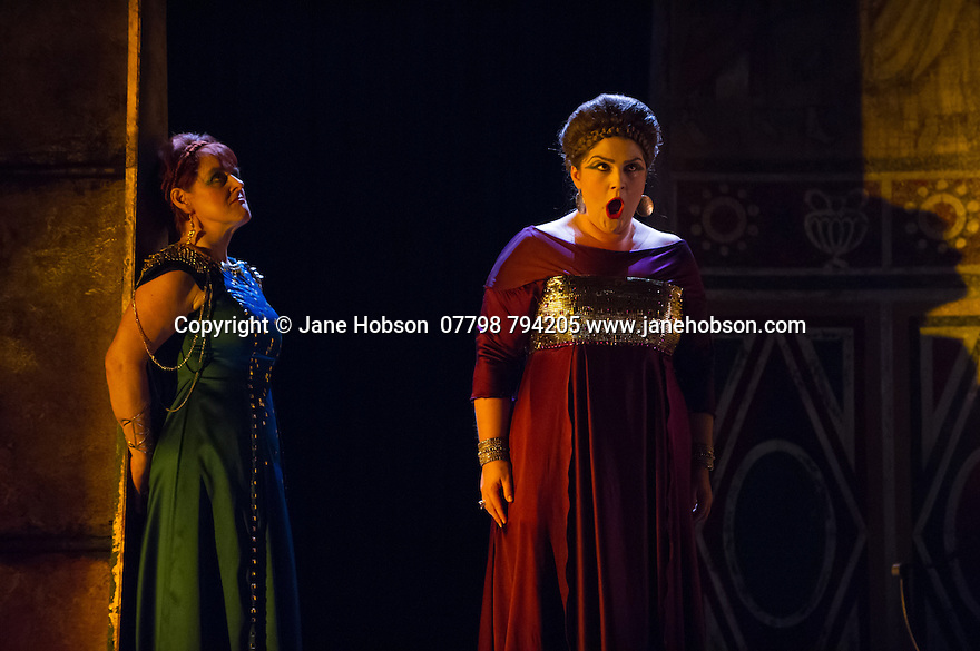 London, UK. 15.10.2014. English Touring Opera presents OTTONE, by George Frideric Handel, directed by James Conway, at the Hackney Empire. Picture shows: Gillian Webster (Gismonda) and Rosie Aldridge (Matilda).  Photograph © Jane Hobson.