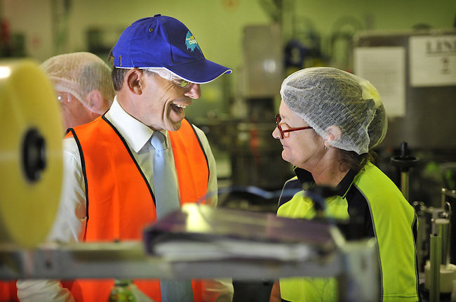 Opposition Leader Tony Abbott tours the Trend Pac manufacturing plant in Dobell on the Central Coast, Tuesday 27th  August 2013 Photo: Mark Graham