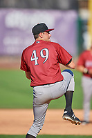 Idaho Falls Chukars starting pitcher Anthony Veneziano (49) delivers a pitch to the plate against the Ogden Raptors at Lindquist Field on August 9, 2019 in Ogden, Utah. The Raptors defeated the Chukars 8-3. (Stephen Smith/Four Seam Images)