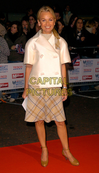 LISA MAXWELL.The Daily Mirror's Pride Of Britain Awards, London Television Studios, London, UK..November 6th, 2006.Ref: CAN.full length white satin coat jacket beige pattern skirt.www.capitalpictures.com.sales@capitalpictures.com.©Can Nguyen/Capital Pictures
