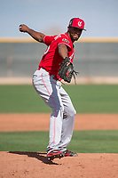 Cincinnati Reds relief pitcher Juan Martinez (45) during a Minor League Spring Training game against the Los Angeles Angels at the Cincinnati Reds Training Complex on March 15, 2018 in Goodyear, Arizona. (Zachary Lucy/Four Seam Images)
