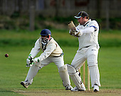 Scottish National Cricket League, Premier Div - Aberdeenshire's new Pro Michael Parlane cuts the ball away past Dunfermline keeper Abbi Shapoor - though the 56 run total gathered by the New Zealander were not enough to deny the home club victory - Picture by Donald MacLeod 25.04.10 - mobile 07702 319 738
