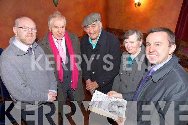 FLOODING: Minister for the OPW, Brian Hayes receives submissions from locals on the flooding problems beside the Cashen River, l-r: Cllr John Brassil, Minister Jimmy Deenihan, John and Mary McElligott (Lixnaw) and Minister Hayes.
