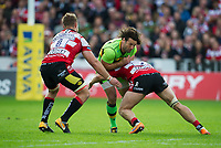 Northampton Saints' Ben Foden is tackled by Gloucester Rugby's Jacob Rowan <br /> <br /> Photographer Ashley Western/CameraSport<br /> <br /> Aviva Premiership - Gloucester v Northampton Saints - Saturday 7th October 2017 - Kingsholm Stadium - Gloucester<br /> <br /> World Copyright &copy; 2017 CameraSport. All rights reserved. 43 Linden Ave. Countesthorpe. Leicester. England. LE8 5PG - Tel: +44 (0) 116 277 4147 - admin@camerasport.com - www.camerasport.com