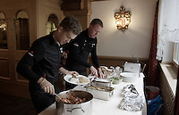 lots of carbs for Riccardo Zoidl (AUT/Trek-Segafredo) at dinner<br /> with Team Trek Segafredo chef Kim Rokkjaer checking everything<br /> <br /> 99th Giro d'Italia 2016