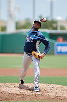 GCL Rays relief pitcher Angel Felipe (35) delivers a pitch during a game against the GCL Red Sox on August 1, 2018 at JetBlue Park in Fort Myers, Florida.  GCL Red Sox defeated GCL Rays 5-1 in a rain shortened game.  (Mike Janes/Four Seam Images)