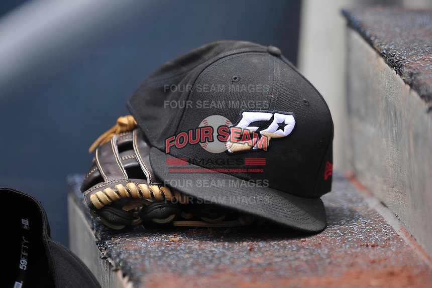 El Paso Chihuahuas ball cap during the game against the Omaha Storm Chasers at Werner Park on May 30, 2016 in Omaha, Nebraska.  El Paso won 12-0.  (Dennis Hubbard/Four Seam Images)