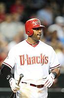 Apr. 11, 2011; Phoenix, AZ, USA; Arizona Diamondbacks infielder Juan Miranda against the St. Louis Cardinals at Chase Field. Mandatory Credit: Mark J. Rebilas-