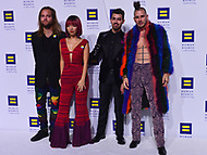 "Washington, DC - October 28, 2017: Members of the multi-platinum selling dance-rock band DNCE pose on the carpet at the Human Rights Campaign's National Dinner held at the Washington Convention Center October 28, 2017. In 2016 the group won ""Best New Artist"" at MTV's Video Music Awards. (Photo by Don Baxter/Media Images International)"