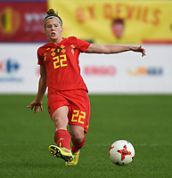 20180406 - LEUVEN , BELGIUM : Belgian Laura Deloose pictured during the female soccer game between the Belgian Red Flames and Portugal , the fourth game in the qualificaton for the World Championship qualification round in group 6 for France 2019, Friday 6 th April 2018 at OHL Stadion Den Dreef in Leuven , Belgium. PHOTO SPORTPIX.BE | DIRK VUYLSTEKE