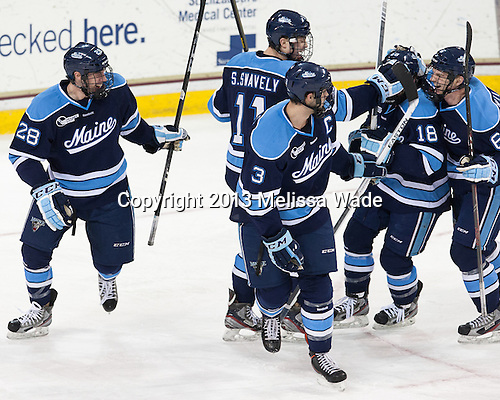 Will Merchant (Maine - 28), Steven Swavely (Maine - 11), Mark Nemec (Maine - 3), Jon Swavely (Maine - 18), Kyle Williams (Maine - 6) - The visiting University of Maine Black Bears defeated the Boston College Eagles 3-1 for a weekend sweep on Saturday, January 26, 2013, at Kelley Rink in Conte Forum in Chestnut Hill, Massachusetts.