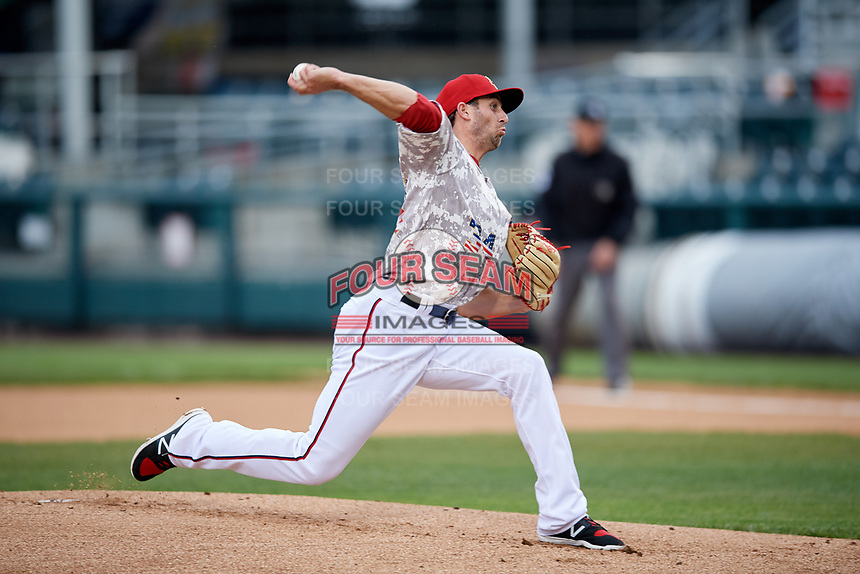 Harrisburg Senators starting pitcher Brady Dragmire (34) delivers a pitch during the second game of a doubleheader against the New Hampshire Fisher Cats on May 13, 2018 at FNB Field in Harrisburg, Pennsylvania.  Harrisburg defeated New Hampshire 2-1.  (Mike Janes/Four Seam Images)