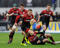20130324 Copyright onEdition 2013©.Free for editorial use image, please credit: onEdition..Chris Ashton of Saracens finds a gap in midfield during the Premiership Rugby match between Saracens and Harlequins at Allianz Park on Sunday 24th March 2013 (Photo by Rob Munro)..For press contacts contact: Sam Feasey at brandRapport on M: +44 (0)7717 757114 E: SFeasey@brand-rapport.com..If you require a higher resolution image or you have any other onEdition photographic enquiries, please contact onEdition on 0845 900 2 900 or email info@onEdition.com.This image is copyright onEdition 2013©..This image has been supplied by onEdition and must be credited onEdition. The author is asserting his full Moral rights in relation to the publication of this image. Rights for onward transmission of any image or file is not granted or implied. Changing or deleting Copyright information is illegal as specified in the Copyright, Design and Patents Act 1988. If you are in any way unsure of your right to publish this image please contact onEdition on 0845 900 2 900 or email info@onEdition.com