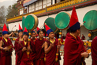 Buddhist monks with drums during the Losar chanting in a monastery in Sikkim India