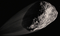 Close up of computer generated asteroid in space