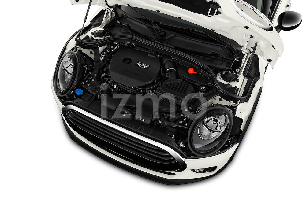 Car Stock 2016 MINI CLUBMAN Cooper 5 Door wagon Engine  high angle detail view