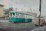 "Trolley going past Ebbets Field just after a summer rain, circa 1950 in Brooklyn, New York City. Oil on canvas, 16"" x 24""."