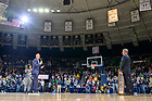 February 1, 2020; Former Men's Basketball player Kelly Tripucka addresses the crowd after his Ring of Honor banner was unveiled during a ceremony at halftime of a Men's Basketball game at Purcell Pavilion. (Photo by Matt Cashore)