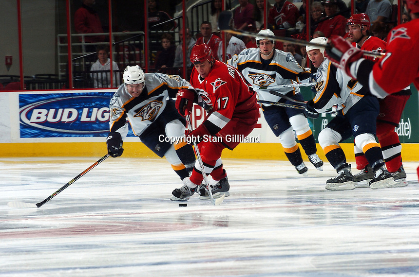 Carolina Hurricanes' captain Rod Brind'Amour fights for a puck against the Nashville Predators Friday, January 13, 2006 in Raleigh, NC. Carolina won 5-4 after a shootout.