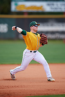 North Dakota State Bison third baseman Matt Elsenpeter (2) during warmups before a game against the Central Connecticut State Blue Devils on February 23, 2018 at North Charlotte Regional Park in Port Charlotte, Florida.  North Dakota State defeated Connecticut State 2-0.  (Mike Janes/Four Seam Images)