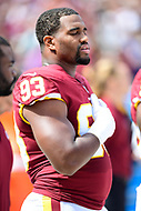 Landover, MD - September 16, 2018: Washington Redskins defensive end Jonathan Allen (93) during the national anthem before game between the Indianapolis Colts and the Washington Redskins at FedEx Field in Landover, MD. The Colts defeated the Redskins 21-9.(Photo by Phillip Peters/Media Images International)