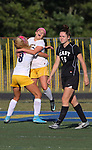 Toms River North's # 10 Maddy Bennert  (center) celebrates her 2nd half goal with team mate # 10 (left) Jenna Royson as the Mariners of Toms River North host the Raiders of Toms River East in a girls varsity soccer game on Friday September 29, 2017.<br /> (Mark R. Sullivan | For NJ Advance Media)