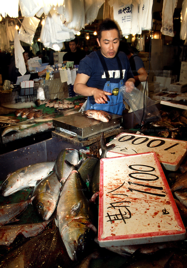 A trader working at his counter with fish piled high all aroaund him in  Tsukiji Wholesale fish market n Tokyo, Japan September 14th 2005