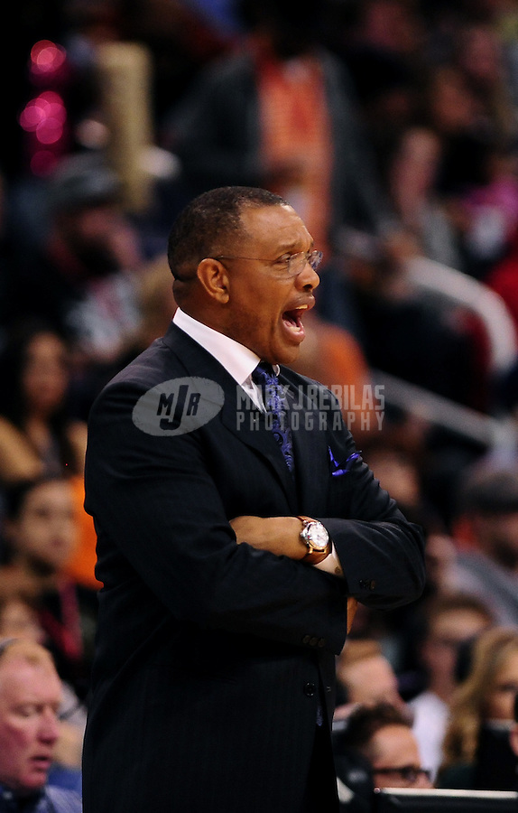 Mar. 2, 2012; Phoenix, AZ, USA; Phoenix Suns head coach Alvin Gentry reacts during game against the Los Angeles Clippers at the US Airways Center. The Suns defeated the Clippers 81-78. Mandatory Credit: Mark J. Rebilas-USA TODAY Sports