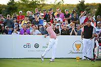 Kevin Kisner (USA) watches his tee shot on 18 during round 2 Four-Ball of the 2017 President's Cup, Liberty National Golf Club, Jersey City, New Jersey, USA. 9/29/2017.<br /> Picture: Golffile | Ken Murray<br /> <br /> All photo usage must carry mandatory copyright credit (&copy; Golffile | Ken Murray)
