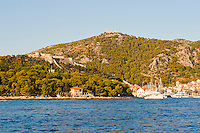 Fortica (the Spanish Fortress) and Hvar Observatory, seen from the Adriatic Sea, Hvar Island, Dalmatia, Croatia. This is a photo of Fortica (the Spanish Fortress) and Hvar Observatory, seen from the Adriatic Sea, just off Hvar Island, Dalmatia, Croatia.