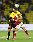 Watford's Sebastian Prodl tussles with Bristol City's Freddie Hinds during the Carabao cup match at Vicarage Road Stadium, Watford. Picture date 22nd August 2017. Picture credit should read: David Klein/Sportimage