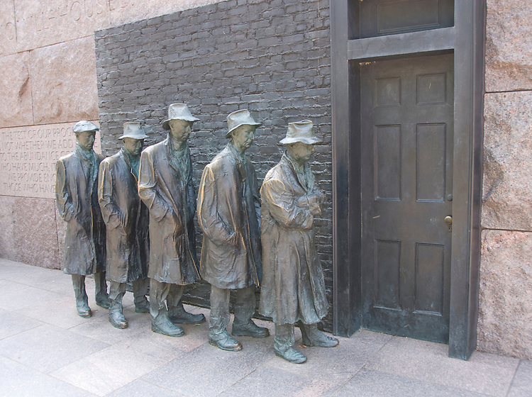 Washington DC; USA: The Franklin Delano Roosevel tMemorial. Sculpture of a Soup Line, waiting for the door to open.  .Photo copyright Lee Foster Photo # 14-washdc83201