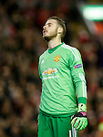 David de Gea of Manchester United dejected following the opening goal during the UEFA Europa League match at Anfield. Photo credit should read: Philip Oldham/Sportimage