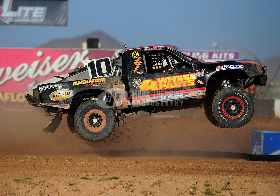 Apr 16, 2011; Surprise, AZ USA; LOORRS driver Greg Adler (10) during round 3 at Speedworld Off Road Park. Mandatory Credit: Mark J. Rebilas-