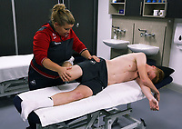 Pictured: Sam Clucas going through a medical with physiotherapist Kate Rees.<br />Re: Sam Clucas of Hull has signed a contract with Swansea City FC, Fairwood Training Ground, Wales, UK. Tuesday 22 August 2017