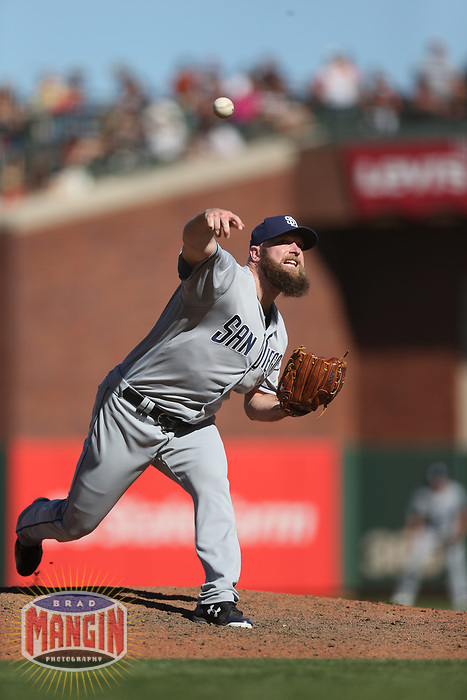 SAN FRANCISCO, CA - JULY 22:  Kevin Quackenbush #59 of the San Diego Padres pitches against the San Francisco Giants during the game at AT&T Park on Saturday, July 22, 2017 in San Francisco, California. (Photo by Brad Mangin)