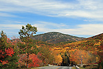 Fall view of a road in Acadia National Park, Maine, USA