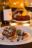 Duo of Bruschetta.Almond Mushroom Tapenade, Chèvre /.Charred Tomato Salsa, Basil Chiffonade