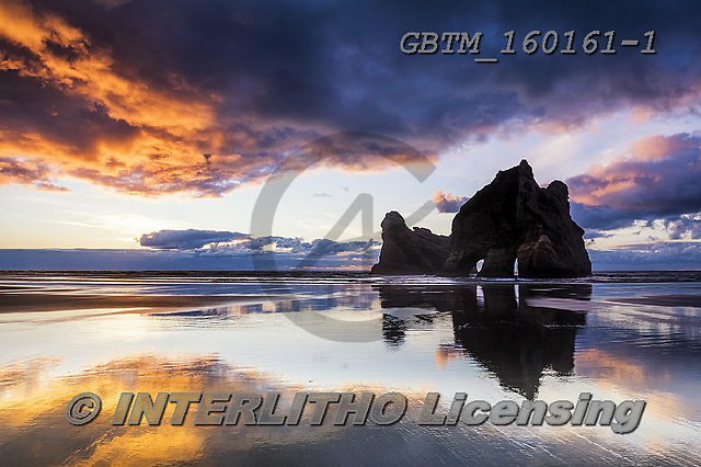 Tom Mackie, LANDSCAPES, LANDSCHAFTEN, PAISAJES, photos,+New Zealand, Tom Mackie, Wharariki Beach, Worldwide, arch, archway, atmosphere, atmospheric, beach, beaches, beautiful, cloud+, cloud reflections, clouds, coast, coastal, coastline, coastlines, color, colorful, colour, colourful, dramatic outdoors, ho+liday destination, horizontally, horizontals, mirror image, ocean, peaceful, reflect, reflecting, reflection, reflections, re+stoftheworldgallery, scenery, scenic, sea, sea stack, sunrise, sunset, time of day, tourist,New Zealand, Tom Mackie, Whararik+,GBTM160161-1,#l#
