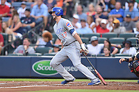 Chicago Cubs third baseman Kris Bryant (17) swings at a pitch during a game against the Atlanta Braves on July 18, 2015 in Atlanta, Georgia. The Cubs defeated the Braves 4-0. (Tony Farlow/Four Seam Images)