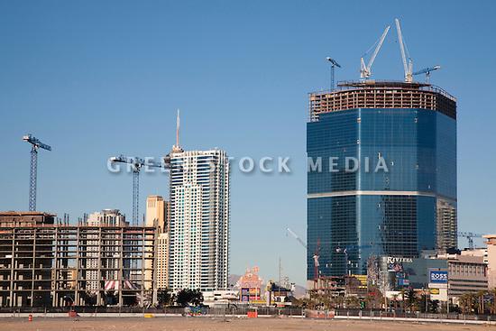A view of a commercial construction and development along Las Vegas Boulevard. Las Vegas, Nevada, USA