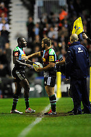Ugo Monye of Harlequins shows emotion as he leaves the pitch for the last time playing for Harlequins at the Stoop