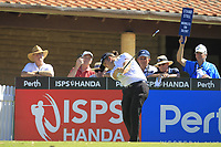Jake McLeod (AUS) in action on the 1st during Round 3 of the ISPS Handa World Super 6 Perth at Lake Karrinyup Country Club on the Saturday 10th February 2018.<br /> Picture:  Thos Caffrey / www.golffile.ie<br /> <br /> All photo usage must carry mandatory copyright credit (&copy; Golffile | Thos Caffrey)