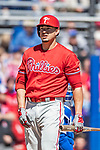 6 March 2019: Philadelphia Phillies outfielder Dylan Cozens at bat during a Spring Training game against the Toronto Blue Jays at Dunedin Stadium in Dunedin, Florida. The Blue Jays defeated the Phillies 9-7 in Grapefruit League play. Mandatory Credit: Ed Wolfstein Photo *** RAW (NEF) Image File Available ***