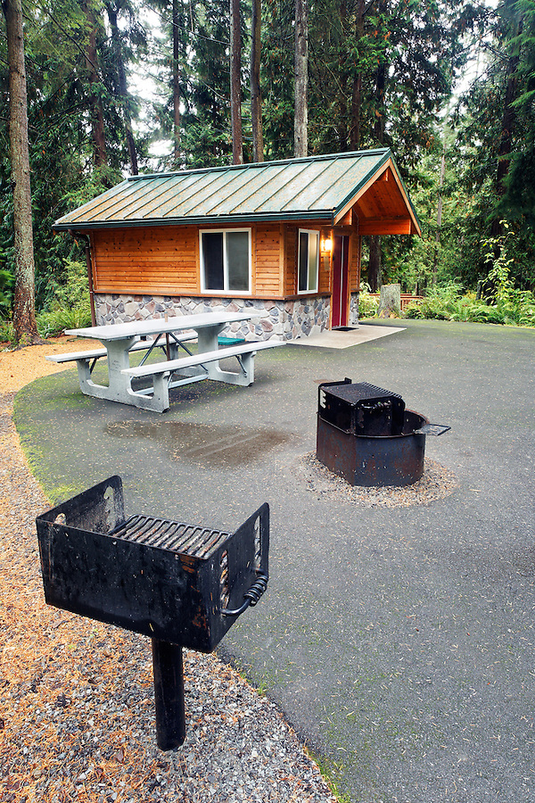 Exterior of rental cabin, Flowing Lake Park, Snohomish County, Washington, USA