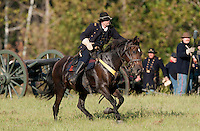 NWA Democrat-Gazette/BEN GOFF @NWABENGOFF<br /> A union officer calls for a medic on Friday Sept. 25, 2015 during the Battle of Pea Ridge Civil War reenactment at Webb Farm near Pea Ridge. The event continues with battle reenactments at 2:00p.m. on Saturday and at 11:00a.m. Sunday.
