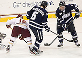 Danny Linell (BC - 10), Trevor van Riemsdyk (UNH - 6), Justin Agosta (UNH - 12) - The Boston College Eagles and University of New Hampshire Wildcats tied 4-4 on Sunday, February 17, 2013, at Kelley Rink in Conte Forum in Chestnut Hill, Massachusetts.