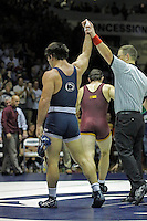 STATE COLLEGE, PA - JANUARY 25: Morgan McIntosh of the Penn State Nittany Lions gets his hand raised after defeating Scott Schiller of the Minnesota Golden Gophers on January 25, 2015 at Recreation Hall on the campus of Penn State University in State College, Pennsylvania. Minnesota won 17-16. (Photo by Hunter Martin/Getty Images) *** Local Caption *** Morgan McIntosh;Scott Schiller